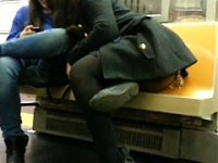 sexy girl shows booty and upskirt in train